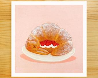 Strawberry Croissant Cat 5x5 Print