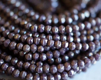 3mm English Cut Picasso Beads - Opaque Purple Bronze Beads - Czech Glass Beads - Bead Soup Beads