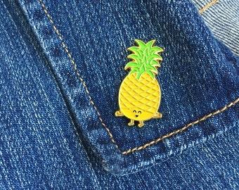 Pineapple Enamel Pin - tropical fruit summer yellow lapel