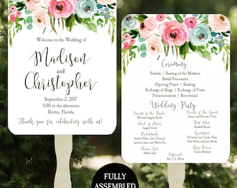 Wedding Program Fans Printable or Printed/Assembled with FREE Shipping - Floral Boho Collection