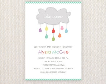 Neutral Baby Shower Invitation. Cloud with Rainbow Raindrops. I Customize, You Print.