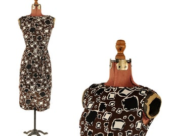 Vintage 1960's Mod Black + Brown Mini Shift Dress Funky Graphic Op Art Abstract Novelty Print S