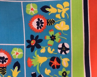 Vintage Scarf - Vibrant sky blue with flowers and color blocks