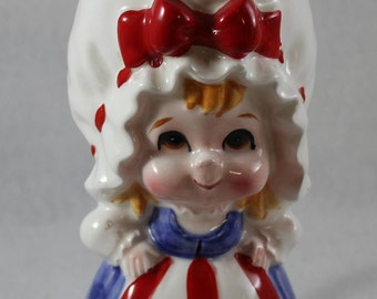Lefton girl creamer or pitcher possibly an Uncle Sam motif fourth of July USA America