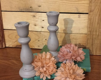 Vintage Wooden Candle Stick Holders (pair) - Hand Painted - Distressed - Greige