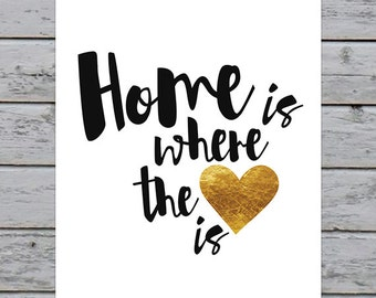 "Printable Calligraphy Typography Home Is Where The Heart Is Art Print - 8x10"" - Instant Download - Home Decor - Modern Wall Art"