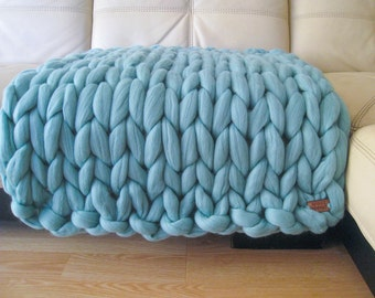 Super Chunky Baby Blanket. Giant Knitted Merino Wool Throw. Super Bulky Yarn. Biggest Stitch Baby Blanket. Thickest Blanket on the market!