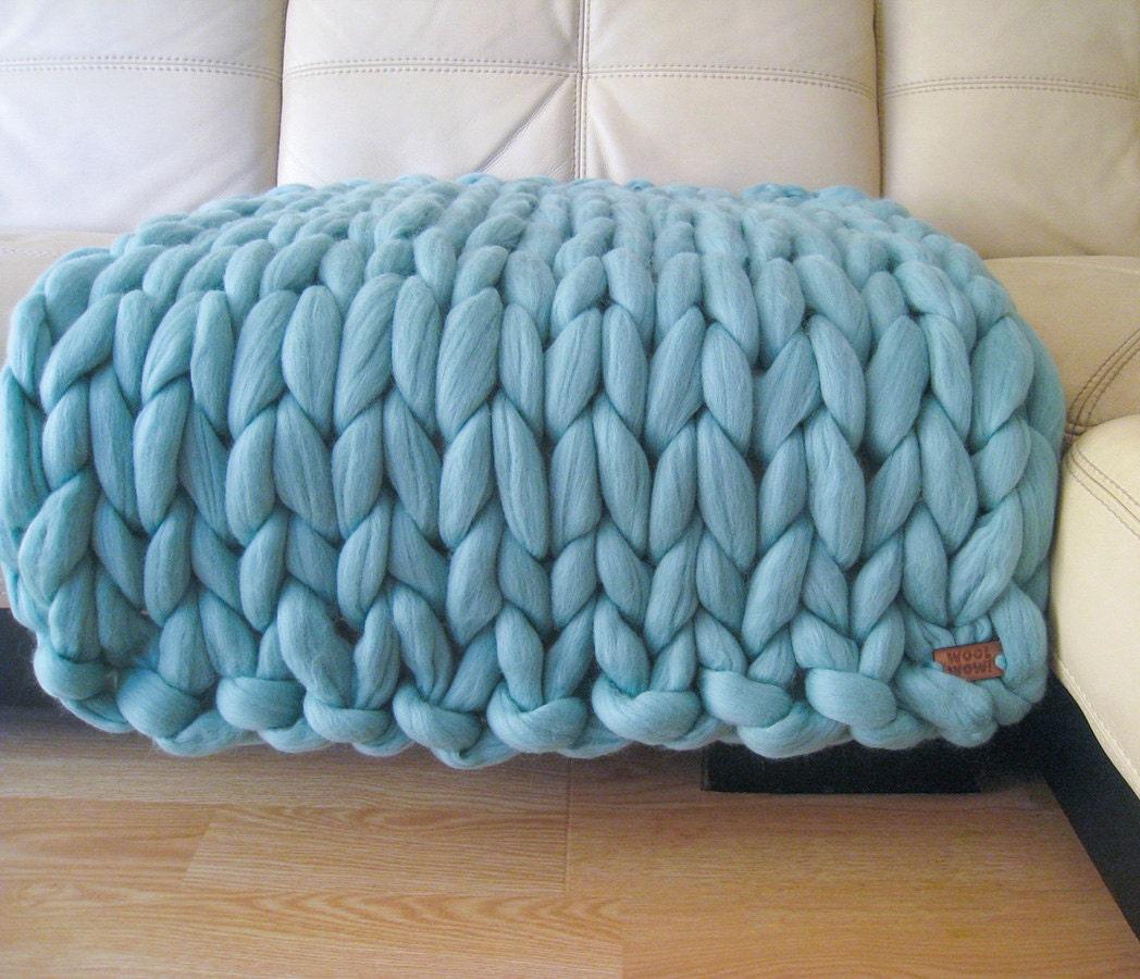 Super Chunky Baby Blanket. Giant Knitted Merino Wool Throw.