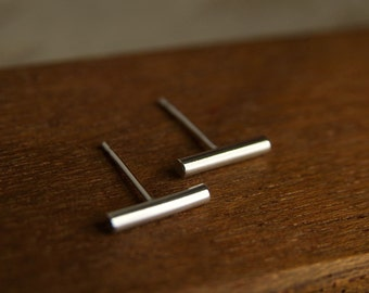 Silver bar earrings | Small stud earrings | Geometric studs earrings in sterling silver | Handmade in UK | Gift for Her | Stocking Filler