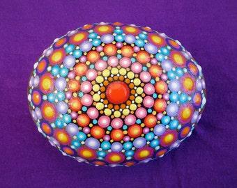 Mandala Stone - Hand Painted - Dotillism - 9.5cm x 7.5cm diameter - 4.5cm depth