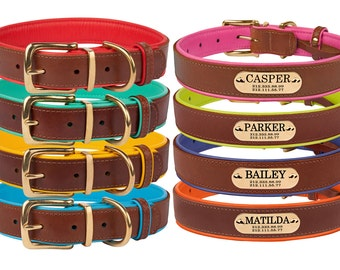Dog Collar, Leather Dog Collar, Personalized Dog Collar, Dog Gift, Engraved Dog Collar, Puppy Collar, Custom Collar