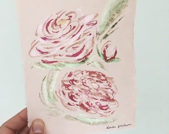 Shimmering peonies roses abstract floral arrangement original watercolor painting