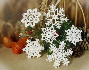 Crochet snowflakes Set of 6 Lace snowflakes Winter decor Handmade snowflakes Christmas decorations S18 S1 S16 S6 S14 S11