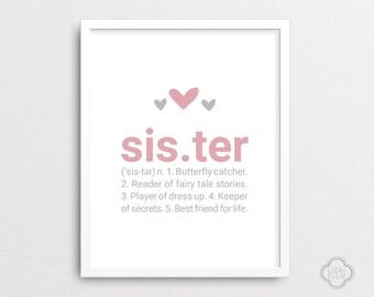 Sister Definition - Baby shower gift - Nursery wall art - Custom wall decor - Pink nursery - Sister art print - INSTANT DOWNLOAD