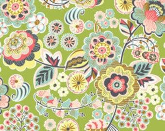 Modern Fabric Blend Fabrics Josephine Kimberling Natural Wonder Deco Park in Green One Yard