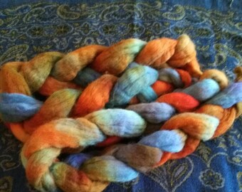 Hand painted spinning fibre.