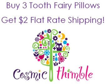 3 Personalized Tooth Fairy Pillows of Your Choice with discounted shipping.