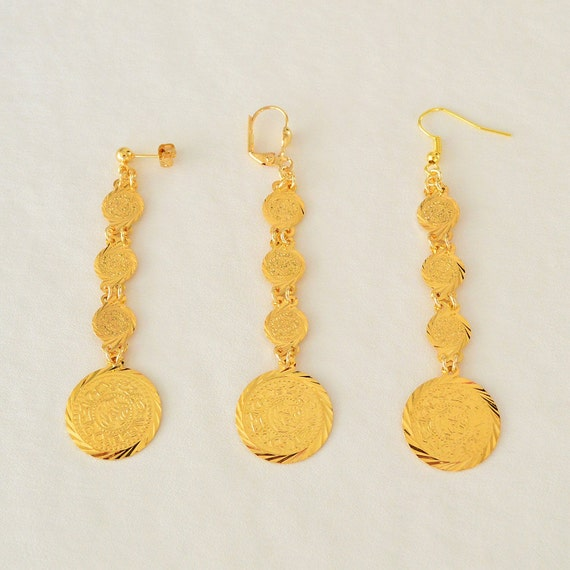 Coin Earrings 24k Gold Plated Arabic Middle East Jewelry Stud