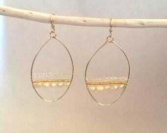 Boucles d'oreille grosses créoles or et pierre gemme-boucles d'oreille mariée-boucles d'oreille perle de culture-cadeau demoiselle d'honneur