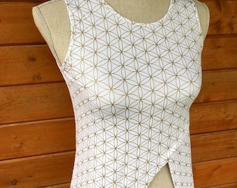 White and Gold Flower of Life Tunic - Sacred Geometry - Seed of Life