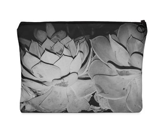 Black And White Succulent Carry All Pouch Flat - Tumblr Aesthetics- Succulents and Plants- MSC943