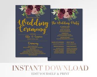 Printable Marsala Floral Wedding Program // Custom Program // Wedding Program // Navy and Gold // Wedding Stationery // Templett