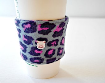 Cat Coffee Cozy, Cup Cozy, Home and Living Cozy, Housewares Cozy, Reusable, Ecofriendly Cozy, Handmade Coffee Sleeve, Valentines Day Gift