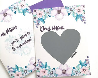 Pregnancy Scratch Off Card Card for Mom - Pregnancy Reveal Card For Mother - Purple Flowers Mother's Day Card - New Baby - New Grandma