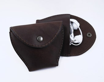 Leather Pouch, Earpod case, Change Pouch, Fidget spinner case, Rustic brown leather coin pouch, Leather coin purse,  Earphone case