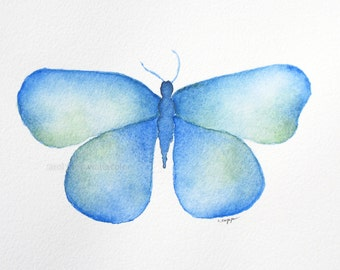"blue butterfly archival print of original 5"" x 7"" watercolor painting"