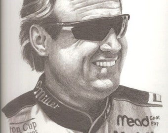Rusty Wallace pencil portrait drawing illustrated by artist Vicki Knoll