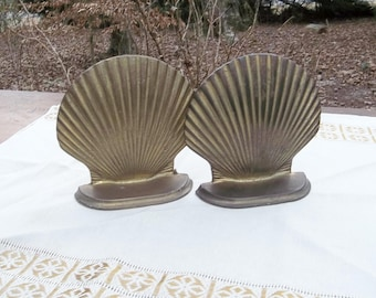 Vintage Brass Shell Bookends Door Stops Solid Brass Bookend Set  Office Decor Beach Decor