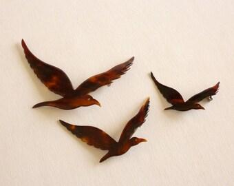1950s Lucite Bird Brooch Set, Tortoise Bird Brooch Set,