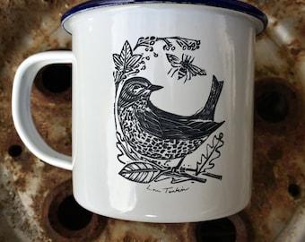 Etched enamel mug- Garden Bird design by Lou Tonkin