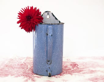 Circa 1920 , french blue and white enamel pot, granite ware , Water Fountain, blue enameled wall fountain