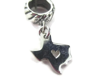 Texas Charm for European Bracelets in Sterling Silver, Lone Star State, I Heart Texas, Texan Gift