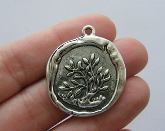 2 Waxed seal tree charms antique silver tone T64