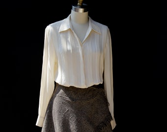 Vintage Ivory Pure Silk Pin-tuck Blouse