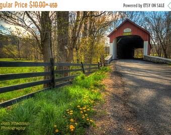 SALE 20% Off Knecht Covered Bridge in Spring, Fine Art Photograph, Flowers, Bucks County, Pennsylvania, Landscape, Wall Art print, Green, Re