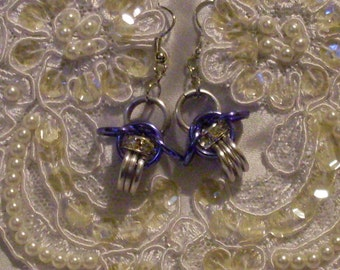 Chainmaille Earring wedding bridesmaid accessory swarovski crystal