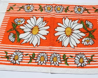 "Vintage Orange White Daisy Flower Terry Cloth Dish Towel,  27"" x 17"", 70s 1970s Retro Mod Mic Century Kitchen Towel"