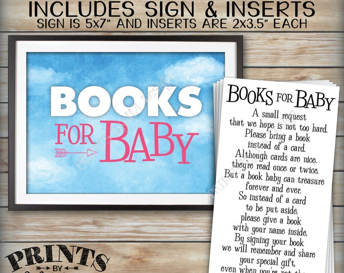 Books for Baby Shower Invite Inserts & Sign, Bring a Book Instead of a Card Insert, Request a Book Rather Than Card, PRINTABLE Files <ID>