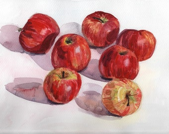 Apples Still life original watercolor painting