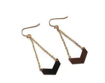 Gold Chevron Stud Earrings