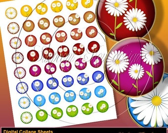 """INSTANT DOWNLOAD - 1"""" Circles Daisies 02 sheet Hot Pink Green Blue Bottle cap Hair bow centers Glass Magnets Resins Stickers Print Your Own"""
