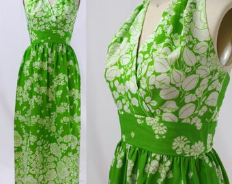 Vintage 1970s Green and White Floral Halter Dress / Size S