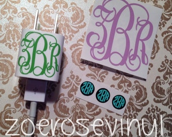 """Monogram iPhone Set: 2"""" Monogram (Back of Phone), 3 Home Buttons (2 Colors), 1"""" Monogram (For Charger)"""