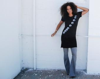 Women's T-Shirt Dress with Kult Designs Rising Moon Logo-Alternative Apparel Legacy Black  Dress,women's casual dress great birthday gift