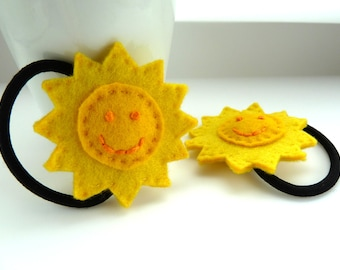 Punky Brewster sun hair ties, adult size - yellow, sunny, sunshine, happy, smile, smiley,  hair bands, hair bobbles