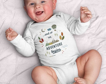 And so the adventure begins Infant Bodysuit (adventure, explore, mountains, travel, wanderlust, baby shower, gift for baby, camping, hike)